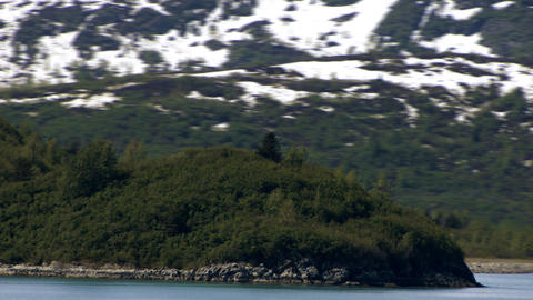 Traveling time-lapse of a green hill on the shore of Glacier Bay, Alaska Footage