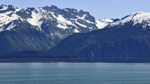 Traveling view of the mountain side at the Inside Passage from a cruise ship Footage