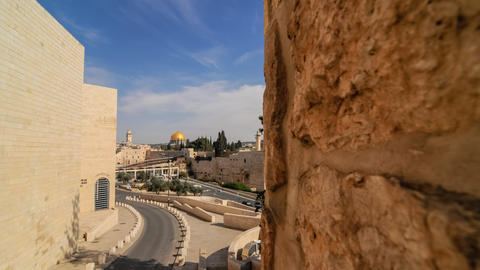 Pushing time-lapse of the Dome of the Rock from a wall to the south west Footage