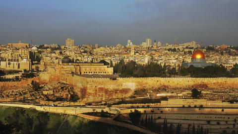 Time lapse of sunrise and shadows over Jerusalem Footage