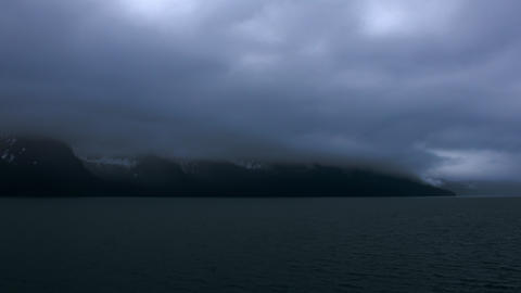 Cloudy time-lapse from a cruise ship leaving Seward, Alaska Footage