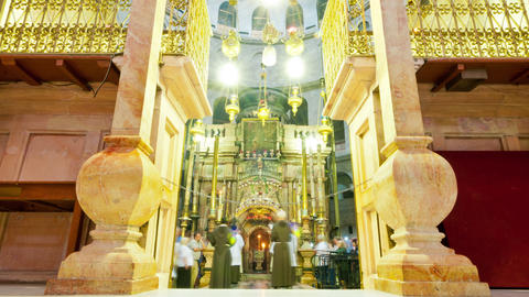 Entrance of the Edicule of the Holy Sepulchral time-lapse of tourists walking ar Footage