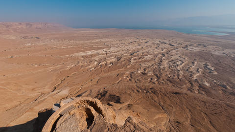 Time-lapse from the top of Masada overlooking the valley and the Dead Sea Footage