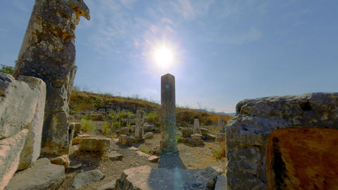 Motion time-lapse of old ruins on Mount Arbel, Israel Footage