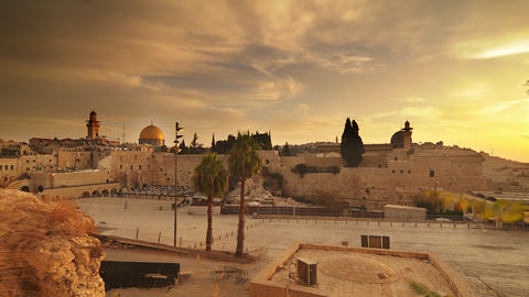 Time lapse of sunrise over Old Jerusalem Footage