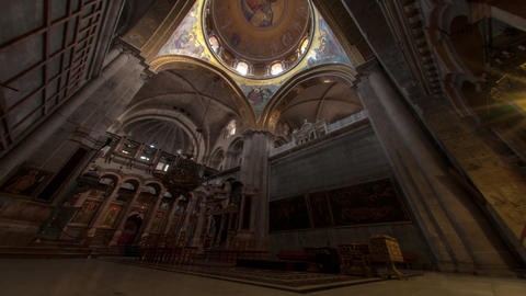 Low-angle time lapse of room in Church of the Holy Sepulchre Footage