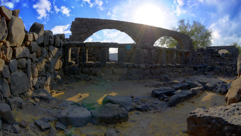 Time-lapse of a stone ruins and light rays at Korazim, Israel Footage