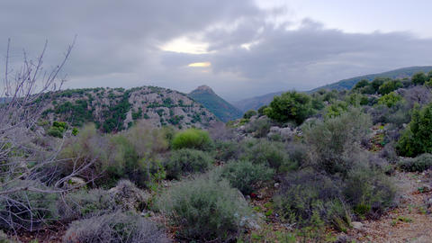 Dusk time-lapse of the hills near Nimrod, Israel Footage