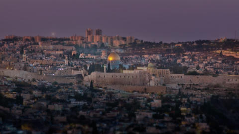 Time-lapse overlooking old city Jerusalem from the west of the city Footage