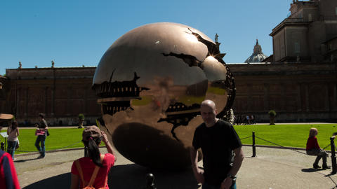 Time-lapse of a metal sphere sculpture in the Vatican Footage