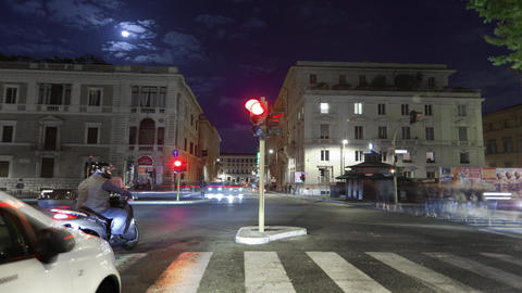 Nighttime time-lapse of a busy street in Rome Footage