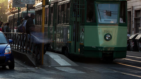 Time-lapse of a street and city trolley stop in Rome Footage