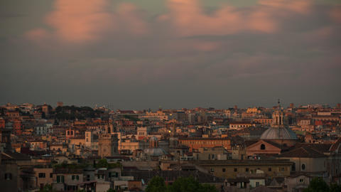 Time-lapse of the Roman skyline at sunset Footage