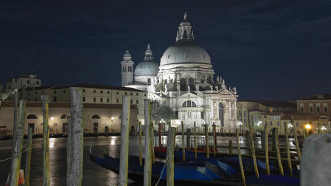 Time-lapse at night of Santa Maria della Salute from Saint Mark's Square Footage