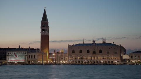 Sunset time-lapse of Saint Mark Square from San Giorgio Island Footage