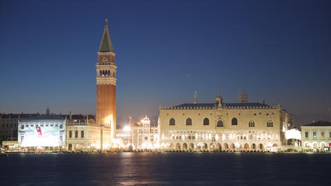 Saint Mark Square time-lapse at night from San Giorgio Live Action