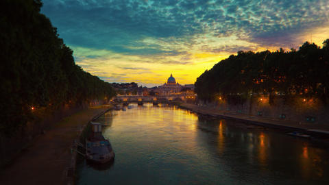 Vibrant sunset time-lapse of the Vatican City, from across the Tevere River Footage