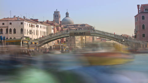 Time-lapse of the Scalzi bridge and water traffic in Venice Footage