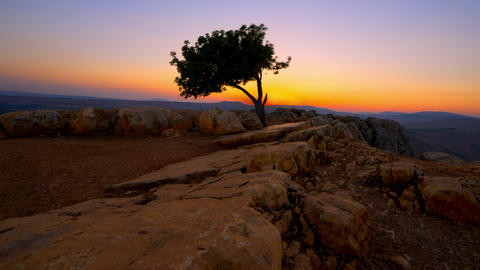 Sunset time-lapse from Mount Arbel near the Sea of Galilee Footage