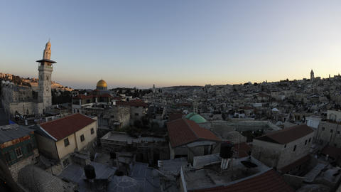 Tracking time-lapse of Jerusalem and the Dome of the Rock at sunset Footage