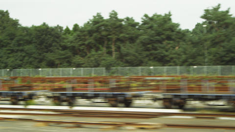 Tracking shot of pallets alongside a road in Amsterdam Footage
