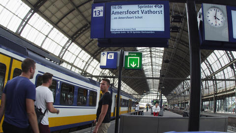 Shot of a train station in Amsterdam Footage
