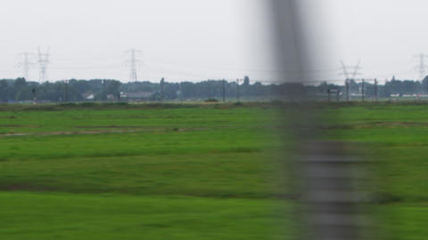 Shot of green fields in Amsterdam Footage