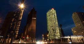 4K, Time Lapse, Potsdamer Platz At Night, Berlin Footage