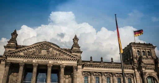 4K, Time Lapse, Closeup Onto Reichstag Building, Berlin Footage