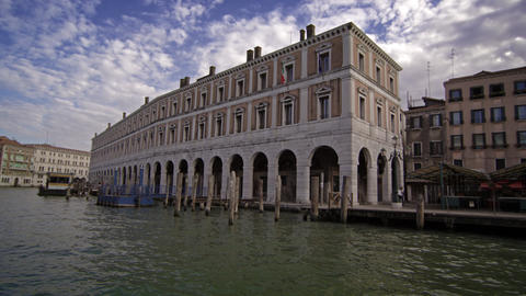 Buildings along the water in Venice Footage