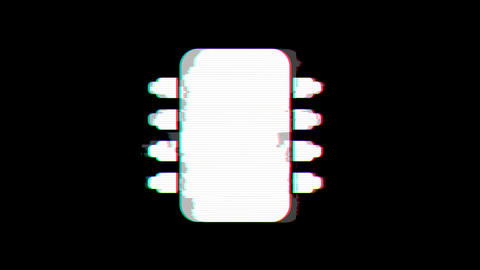 From the Glitch effect arises microchip symbol. Then the TV turns off. Alpha channel Premultiplied - Animation