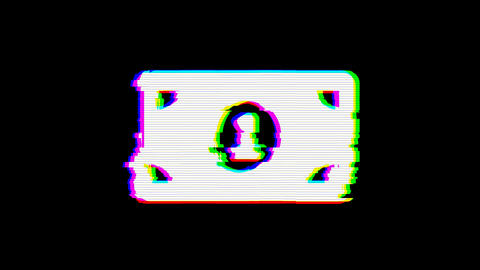 From the Glitch effect arises money bill one symbol. Then the TV turns off. Alpha channel Animation