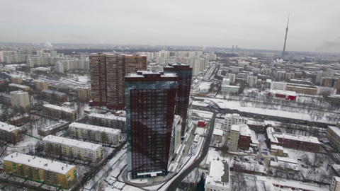 Aerial winter cityscape of Moscow, Russia Footage