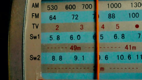 The frequency scale of the old radio mid-20th century Footage
