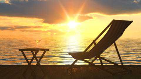 Deck chair and table with glass of wine at seacost against orange sunset Animation