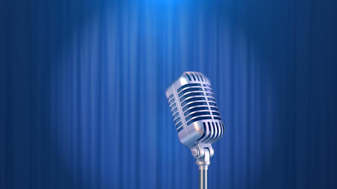 Retro Microphone and a Blue Curtain Background Animation