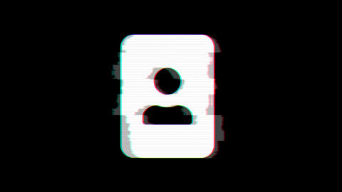 From the Glitch effect arises portrait symbol. Then the TV turns off. Alpha channel Premultiplied - Animation