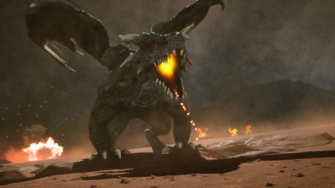 Big dragon in the desert looking for his enemies. 3D animation fantasy background Animación