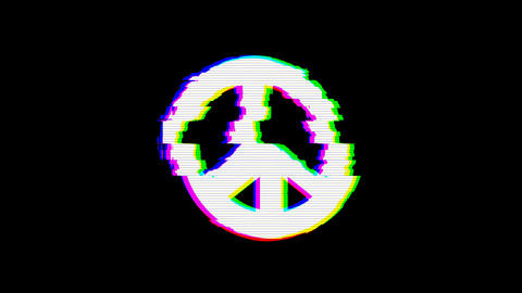 From the Glitch effect arises peace symbol. Then the TV turns off. Alpha channel Premultiplied - Animation