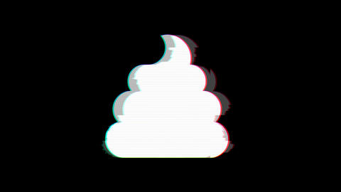 From the Glitch effect arises poop symbol. Then the TV turns off. Alpha channel Premultiplied - Animation