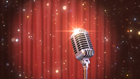 Stand Up Background Retro Microphone with the Red Curtains Animation