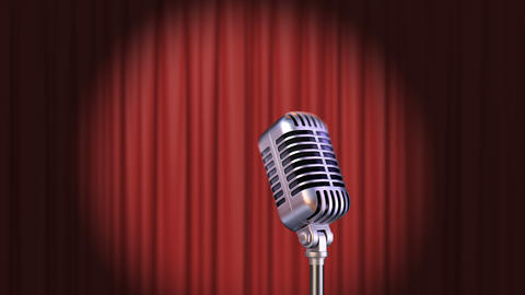 Red Curtain with Spotlight and Vintage Microphone Animation