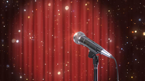 Microphone with Magic Particles against Blurred Red Curtains Background Animation
