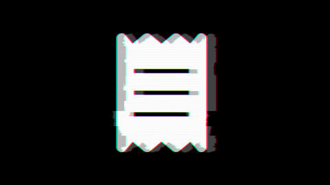 From the Glitch effect arises receipt symbol. Then the TV turns off. Alpha channel Premultiplied - Animation