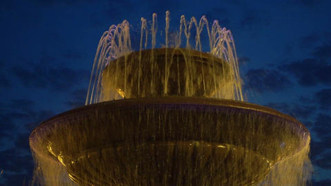 Beautiful ancient fountain against evening sky Footage