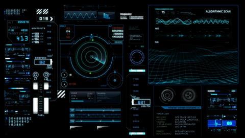 Hud infographics HiTech v4 WA Stock Video Footage