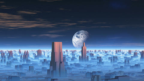 Moon over Alien City Animation