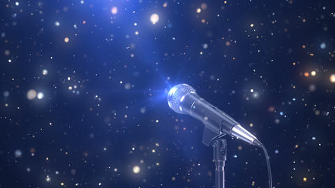 Beautiful Karaoke Background with a Microphone and Magic Particles Animation