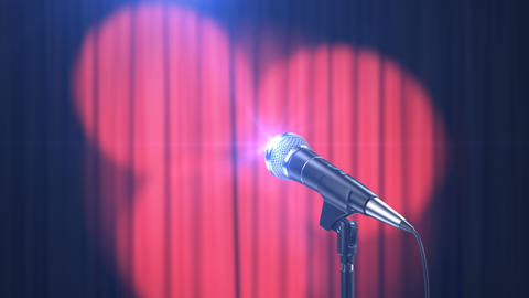 Concert Background, Microphone and Curtains with Rotating Spotlights Animation