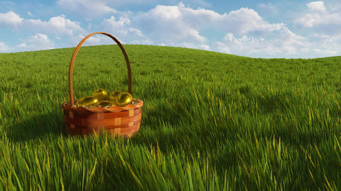 Basket with dyed easter eggs among green grass 3D animation Animation